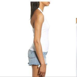 Project Social T Tops - Project Social T Ribbed Halter Top White Medium